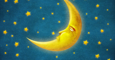 Retro illustration of  night time with stars and moon ,background art