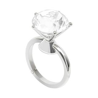 バッグハンガー ダイヤモンドリング アンバー 名入れイニシャル|商品画像