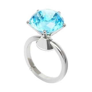 バッグハンガー ダイヤモンドリング ブルー 名入れイニシャル|商品画像