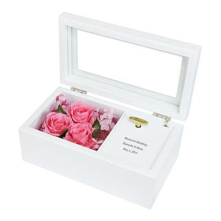 プリザーブドフラワー オルゴール ピンク 名入れ 誕生日のお祝いに 商品画像