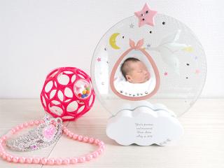 こうのとりの名前入り ベビーフレーム ピンク おしゃれに赤ちゃんの|商品画像