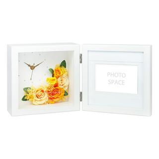 プリザーブドフラワー クロック&フォト オレンジ 名入れ  母の日|商品画像