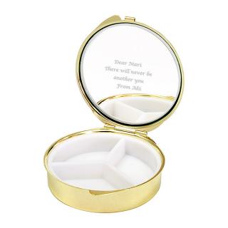 ミラーピルケース リボンネイビー ・ホワイト キュートなドット柄のミラ-付き|商品画像
