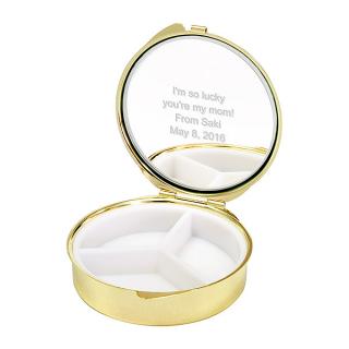 ミラーピルケース リボンホワイト ・ネイビー キュートなドット柄のミラ-付き|商品画像