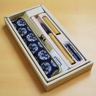 あかしや天然竹筆ペン 京帯地ペンケースセット 龍|商品画像