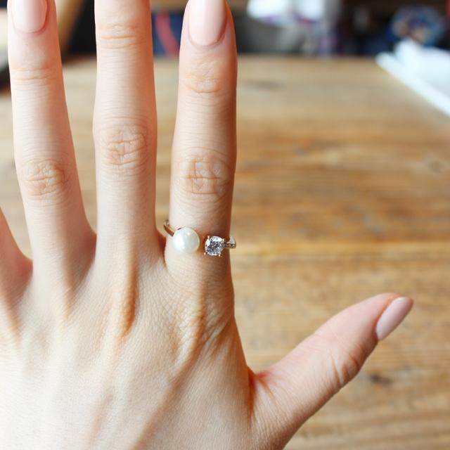 やぎ座(12月22日~1月19日) 12星座ベビーピンクチャームブレスレット パール&ストーンリング SET|商品写真