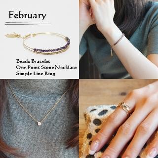 2月 誕生石アメジストカラー ビーズブレスレット ネックレス リング SET|商品写真サムネイル
