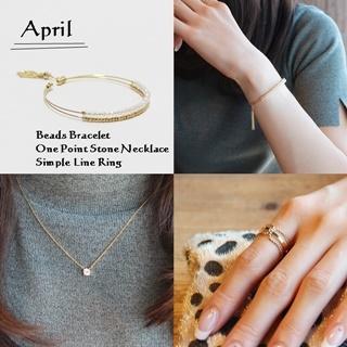 4月 誕生石ダイヤモンドカラー ビーズブレスレット ネックレス リング SET|商品画像