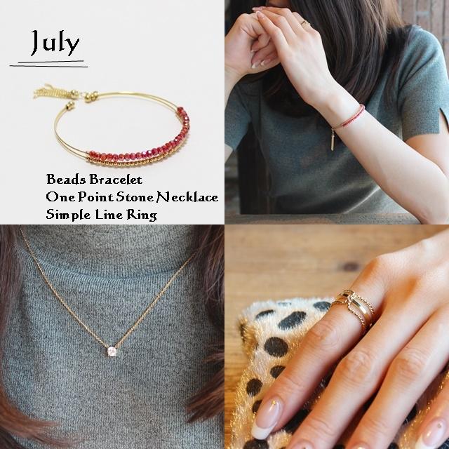 7月 誕生石ルビーカラー ビーズブレスレット ネックレス リング SET 商品写真