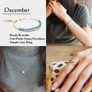 12月 誕生石ターコイズカラー ビーズブレスレット ネックレス リング SET|商品画像