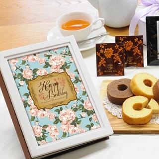 ウッディフォトアルバム×お菓子のギフト(アルバム:ホワイト、デザイン:ブルーローズ)|商品画像