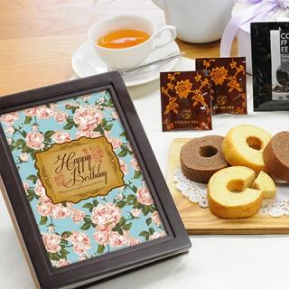 ウッディフォトアルバム×お菓子のギフト(アルバム:ブラウン、デザイン:ブルーローズ)|商品画像