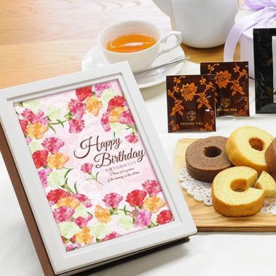 ウッディフォトアルバム×お菓子のギフト(アルバム:ホワイト、デザイン:ピンクフラワー)|商品写真