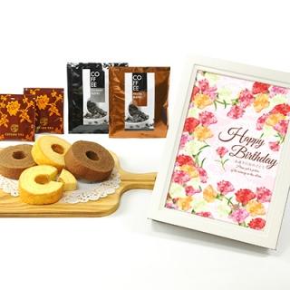 ウッディフォトアルバム×お菓子のギフト(アルバム:ホワイト、デザイン:ピンクフラワー)|商品写真サムネイル