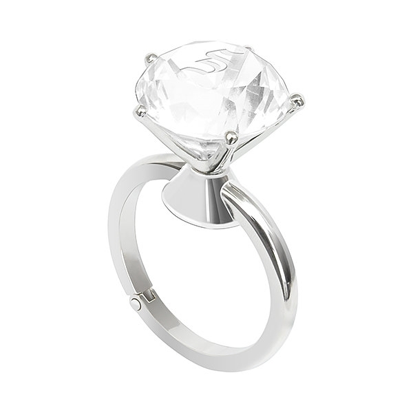 バッグハンガー ダイヤモンドリング アンバー 名入れイニシャル|商品写真