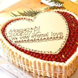 特注ハート型 最高級洋菓子シュス木苺レアチーズケーキ14cm ハートプレートセット|商品画像