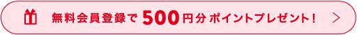 無料会員登録で、今すぐ使える500円分ポイントプレゼント