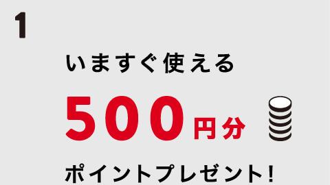 今すぐ使えるポイントプレゼント!500円分
