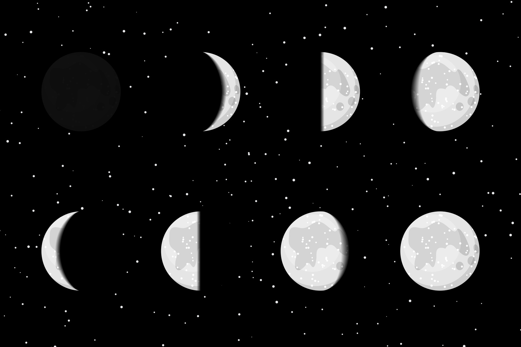 Vector lunar phases icons on starry dark background