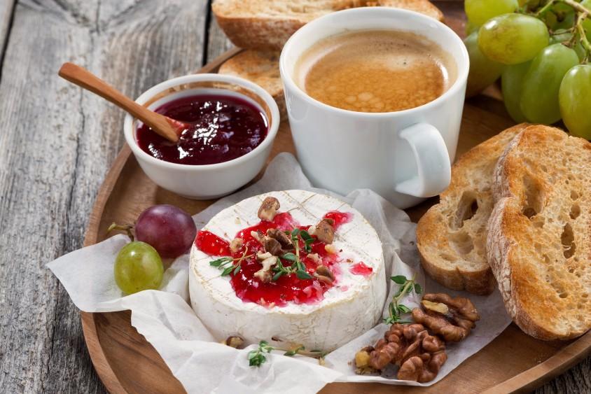 gourmet breakfast- camembert with berry jam, toast