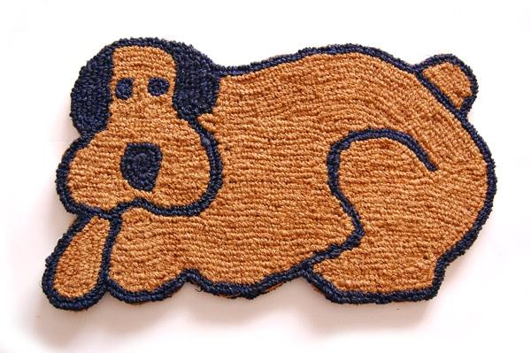 手編みココナッツコイヤー玄関マット Dog